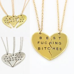 friendship plates Australia - 2 3 PCS Broken Heart Pendant Necklace Gold Silver Plated Best Friends BFF Women Men Statement Jewelry Friendship Choker