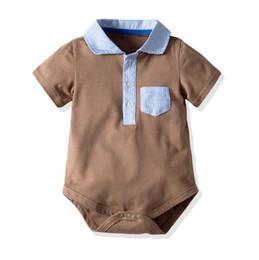 Browns onesie online shopping - Kids Designer Clothes Boys Cartoon Striped Romper Jumpsuit Summer Short Sleeve Striped Romper Baby Onesie Infant Toddler Clothing