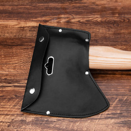 Hooked blade online shopping - Portable High quality Axe Cover Blade Protection Leather Tools Bag Black Hanging Axe Hand Tool storage Bag With hook