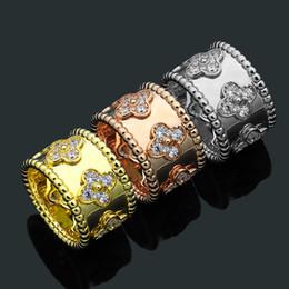 $enCountryForm.capitalKeyWord Australia - Fashion Lady Micro Inlay Full Diamond Cubic Zirconia Flower Brass 18k Gold Plated Engagement Wedding Bead edge Wide Rings Size6-8