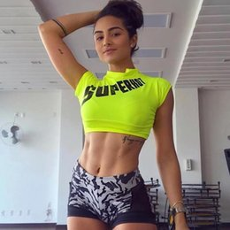 Trendy Tees women online shopping - Letter Print Neon Crop Top Sexy Summer Clothes for Women Active Wear Womens Crop Tees Trendy Tshirt Tops