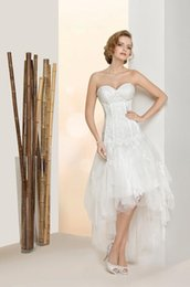 $enCountryForm.capitalKeyWord UK - 2019 New vestido de noiva White Ivory Applique Sleeveless Sweetheart Lace Organza High Low Wedding Dresses Bridal Gowns