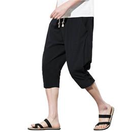 Drawstring Trousers Australia - Plus Size Men Trousers Jogger Pants For Men Drawstring Casual Solid Pocket Calf-Length Trousers Loose Straight pants 2019