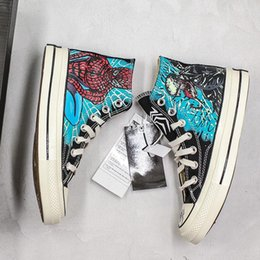 $enCountryForm.capitalKeyWord NZ - Limited Edition Graffiti Hand-painted Marvel Venom Spider-man Design Hot Convas Casual Shoes Men Women Desgner canvas Sneakers