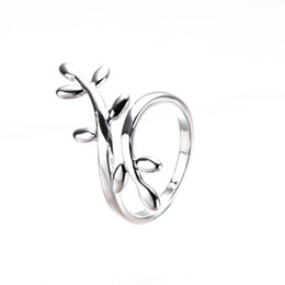 indexing plates Australia - S925 Sterling Silver Ring Woman Opening Simple Leaf Ring Index Finger Jewelry Creative Olive Branch Ring