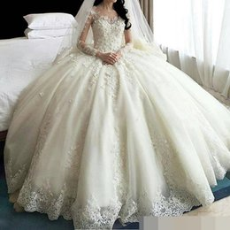 See Through Luxury Wedding Dress Australia - Dubai Luxury Crystal Flowers Ball Gown Wedding Dresses 2019 Long Sleeve Muslim Wedding Dress Arab Wedding Gowns See Through Back