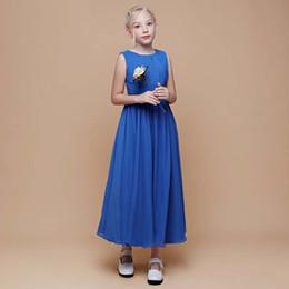 New desigN flower girl dresses online shopping - Jewel Neck Simple Chiffon Long Dress Flower Girl Tea Length Children s Party Dress New Design