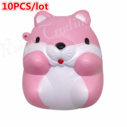 Mouse Kawaii Australia - 10Pcs  Lot Kawaii 8Cm Hamster Mouse Squishy Slow Rising Pendant Soft Squeeze Phone Straps Bread Cake Scented Stretchy Toy Gift