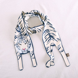 Hand Bags Leopard Prints Australia - 17 Design Animal Scarf Hand Bag Scarves Imitated Silk Scarf Polyester Tiger Leopard Cat Lion Tiger Print Women Summer Long Scarves & Wraps