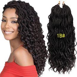 $enCountryForm.capitalKeyWord Australia - New Style! 18'' Wavy Senegalese Twist Crochet Hair Braids Wavy Ends Free Synthetic Hair Extensions Kanekalon Braiding Hair Dreadlocks Braids