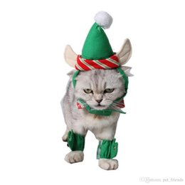 Christmas Clothes Australia - 4pcs set Pet Hat Dog Cat Christmas Green Hat + Necklace + Foot Cover docor Xmas Party Puppy Dog Chihuahua Clothing Cap