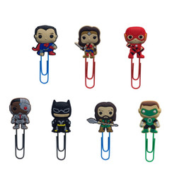 paper bookmarks for books NZ - 25pcs Justice League Cool Bookmarks for Books Action Figure Paper Clips for Students Teacher Book Marks Page Holder Kids Gift