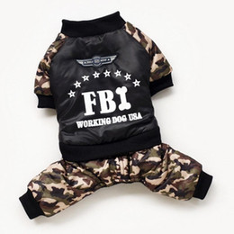 Wholesale fbi clothing for sale – custom Winter Warm Dog Four Leg Dress Coat Pet Dog Clothes FBI Printing Letter Camouflage Costume Jumpsuit Cotton Coat Jacket