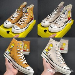 Hand painted women body online shopping - New Cute Designer Simpson x Convas s Hi Donuts Hand painted Limited Figurines Casual Sneakers Mens Women All Star Skateboard Sport Shoes