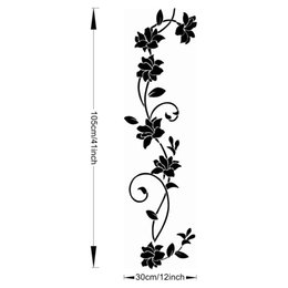 black wall art vines UK - Black flower Vine Wall Stickers Refrigerator Window cupboard Home Decorations Diy Home Decals Art Mural Posters Home Decor