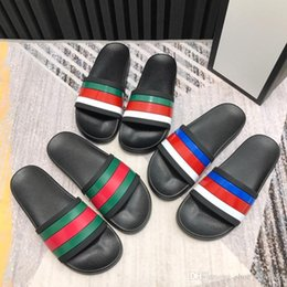 $enCountryForm.capitalKeyWord Australia - 2019 Men Leather Slippers Sandals with Letters, Black blue red Slide Flip Flops , Cheap Slippers Comfortable size 35-45