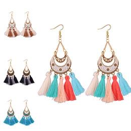 Großhandel Luxus Designer Schmuck Frauen Ohrringe Crescent Tassel Kronleuchter Designer Ohrringe Quasten Legierung lange baumeln Ohrringe Tropfen Schiff-P
