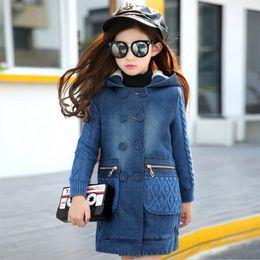 $enCountryForm.capitalKeyWord NZ - Girls winter hooded jacket kids cowboy thick cotton coat children's outerwear long section warm teens coat for girls Children