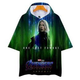 kpop t shirts UK - 2019 Hot Fashion Kpop 3D The Avengers 4 Hooded Short Sleeve T-shirt Men Women Hip Hop Casual Summer Autumn Soft Hooded Tee Top