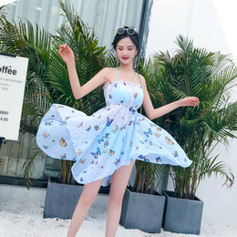 women summer suit three pieces Australia - 2019 New Women Clothes Swimwear Women Butterfly Print One Piece Suits Push-up Summer Beach Swimsuit Three-piece Suit
