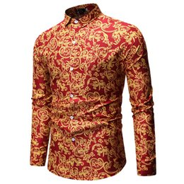 british clothing for men 2019 - FeiTong Spring Shirt Of Men Long Sleeve Shirts Printed Plus Size Casual Mens Clothing 2019 Hawaiian Shirt For Men Britis