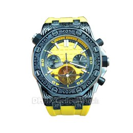 Luxury Mens Yellow Watches Australia - New Luxury Mens Designer Watches montre de luxe Flywheel Mechanical Automatic Watch Yellow Rubber Strap Sapphire 42mm Stainless Wristwatches