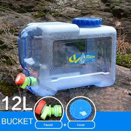 12 Packs Australia - Mounchain Outdoor 12   18 L Thicken Plastic Water bag Tank Portable Tote Bucket Water Carrier with Faucet barrel PE