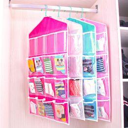 $enCountryForm.capitalKeyWord Australia - 16 Pockets Socks Organizer 4 Colors Closet Underwear Storage Bag CD Postcard Door Hanging Storage Bag Pouch 100 Pieces DHL