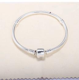 Logo Snake Australia - Silver Plated Bracelets with LOGO Women Snake Chain Charm Beads for pand0ra Bangle Bracelet Children Gift