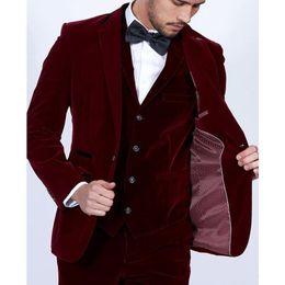 $enCountryForm.capitalKeyWord Australia - Burgundy Velvet Men Suits 2019 Slim Fit 3 Piece Blazer Tailor Made Wine Red Groom Prom Party Tuxedo(Jacket Pants Vest)