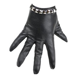 pole dancing wholesaler Australia - Fashion Female Night Club Pole Dancing Leather Gloves Women Gothic Punk Rivets Rock Show Half Palm Full Finger Fitness Gloves A4