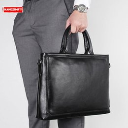 "$enCountryForm.capitalKeyWord Australia - New business men's briefcase 14"" computer handbags male genuine leather shoulder messenger bag black soft leather crossbody bags"