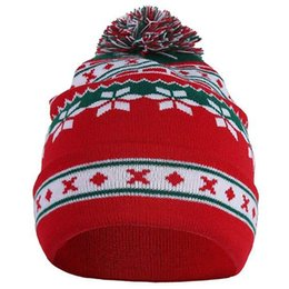 Knitted ornaments online shopping - Winter Men Women Cute Christmas Snowflake Beanie Hat Knitted Ski Cap Autumn Winter Santa Snowflake Knitted Sweater Hat Creativ