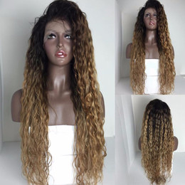22 ombre full lace wig NZ - Glueless Full Front Lace Wigs Brazilian Hair Ombre color long Human Hair raw remy water wave