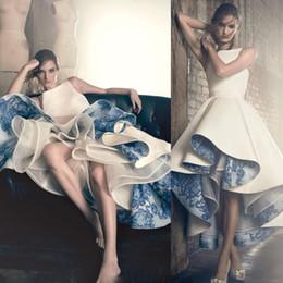 $enCountryForm.capitalKeyWord Australia - 2020 Vintage Hi-Lo White Prom Dresses Tea Lenght A Line Maxi Wear Blue Porcelain Appliques Lace Lining Evening Gowns Formal Party Dress