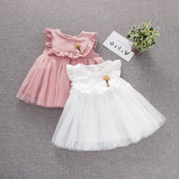 pink tutus NZ - Hot sales Baby Girls Kids TuTu Cute Dress Baby Girls Clothes Pink White 2 Colors Summer Spring Princess Dress Kids Clothes