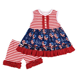 $enCountryForm.capitalKeyWord Australia - Girl Striped Vest Set Kids Stars Printing Sleeveless Set American Flag Independence National Day USA 4th July Round Neck Tops Short Pants