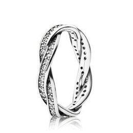 sterling pave ring Australia - Original 925 Sterling Silver Love Eternal Braided Pave Zirconia Ring For Women Anniversary Wedding Ring Fashion Jewelry