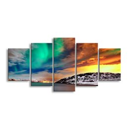 Art Canvas Prints Australia - 5 pieces high-definition print Sunrises and sunsets canvas prints painting poster and wall art living room picture RCRL5-008