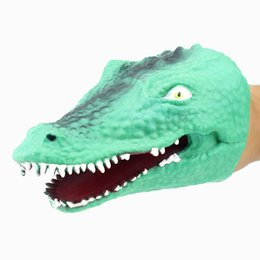 $enCountryForm.capitalKeyWord Australia - 20pcs lot wholesale TPR Green Soft Crocodile Head Hand Puppet Glove Toy Model Gift animal puppet doll