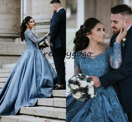 $enCountryForm.capitalKeyWord Australia - Ice Blue Ball Gown Prom Dresses with Long Sleeve 2019 Jewel Neck Lace Applique Puffy Skirt Quinceanera Evening Party Dresses