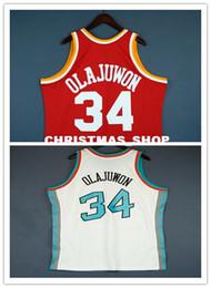 Venta al por mayor de 100% cosido Hakeem Olajuwon Mitchell Ness 93 94 Jersey venta al por mayor Jersey para hombre tamaño del chaleco XS-6XL cosido baloncesto Jerseys Ncaa
