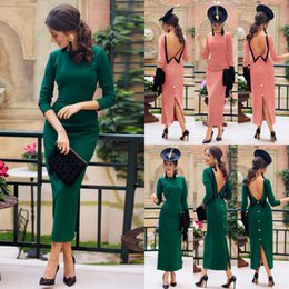 Green ankle lenGth eveninG dress online shopping - Hirigin Women s Bodycon Long Sleeve Backless Dress Ladies Party Evening Pencil Long Dress New