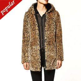 sexy outerwear coats UK - Autumn Winter Fashion Hooded Sexy Leopard Women Imitation Coat Medium Long Faux Fur Parkas Outerwear W1137