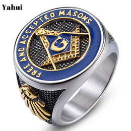 $enCountryForm.capitalKeyWord NZ - YaHui stainless steel men's rings jewelry ring gold Blue epoxy Blue epoxy biker letter initial ring men jewelry fashion jewelry C18122801