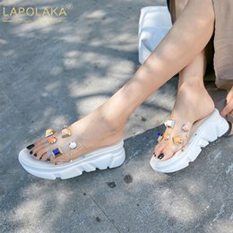 Discount new summer wedges - LAPOLAKA New Fashion Rivet Color Crystal Slippers women's Summer Platform Slippers Women Wedges Casual Shoes Woman