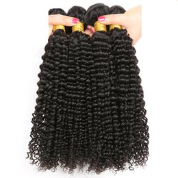 Virgin Natural Curly Human Hair UK - 4Pcs Kinky Curl 100% Remy Human Hair Weft Curly Hair Black Natural Color Can Be Bleached &Restyled With Factory Price