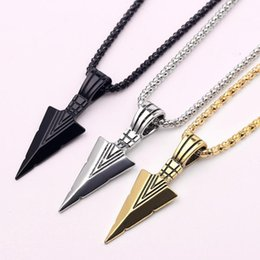 long stylish chain pendant Canada - Stylish men's design matte black arrow long necklace with arrow pendant jewelry chain hip-hop punk rock men's gift