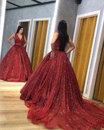 $enCountryForm.capitalKeyWord Australia - Red 2019 Bling Bling Sequined Ball Gown Quinceanera Dresses Deep V Neck Court Train Sweet 16 Dresses Prom Dresses vestidos de quinceanera