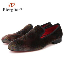 2175e7bfe28b Casual shoes Piergitar 2019 new Paisley designs men s velvet loafers  Fashion party and wedding men dress shoes Handmade smoking slipper